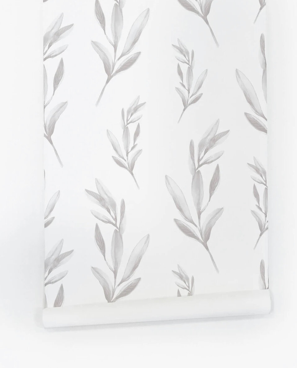 Grey Foliage Print Removable Wallpaper -