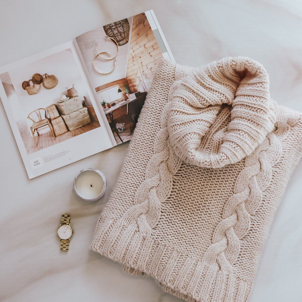 cable knit oversized turtleneck