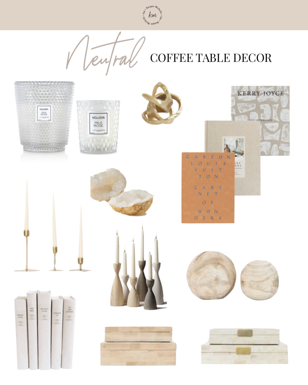 neutral coffee table top decor