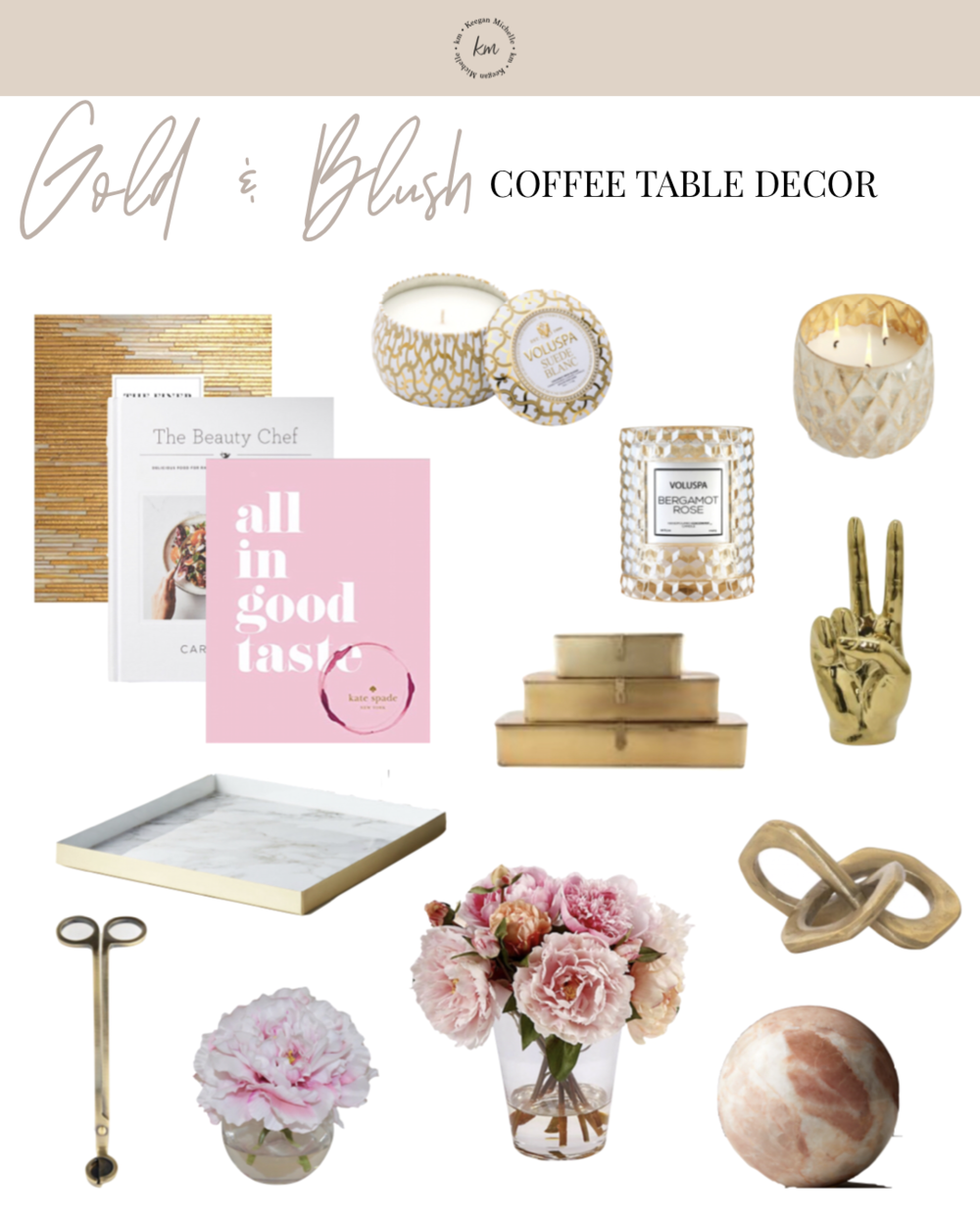 blush and gold coffee table decor