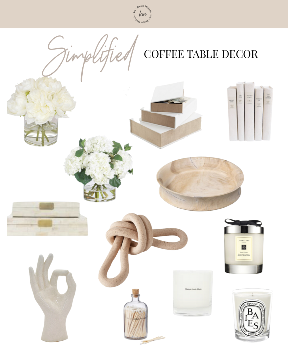 simplified coffee table decor