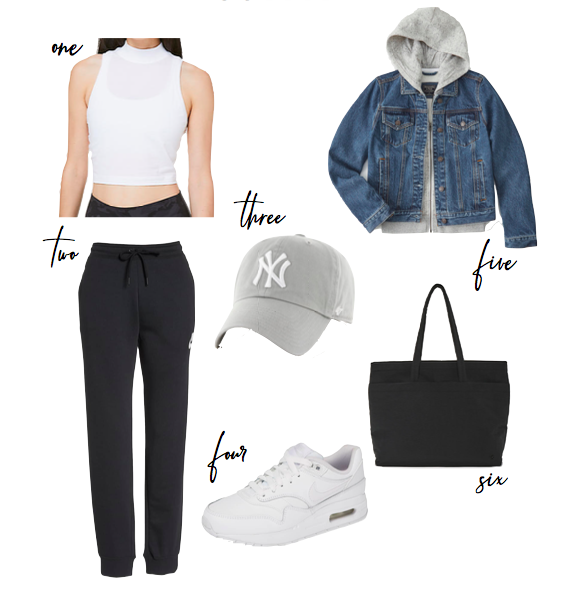 athleisure outfit in joggers and a denim jacket