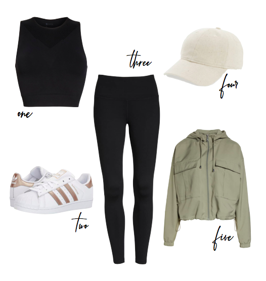 athleisure outfit with cargo jacket and sports bra