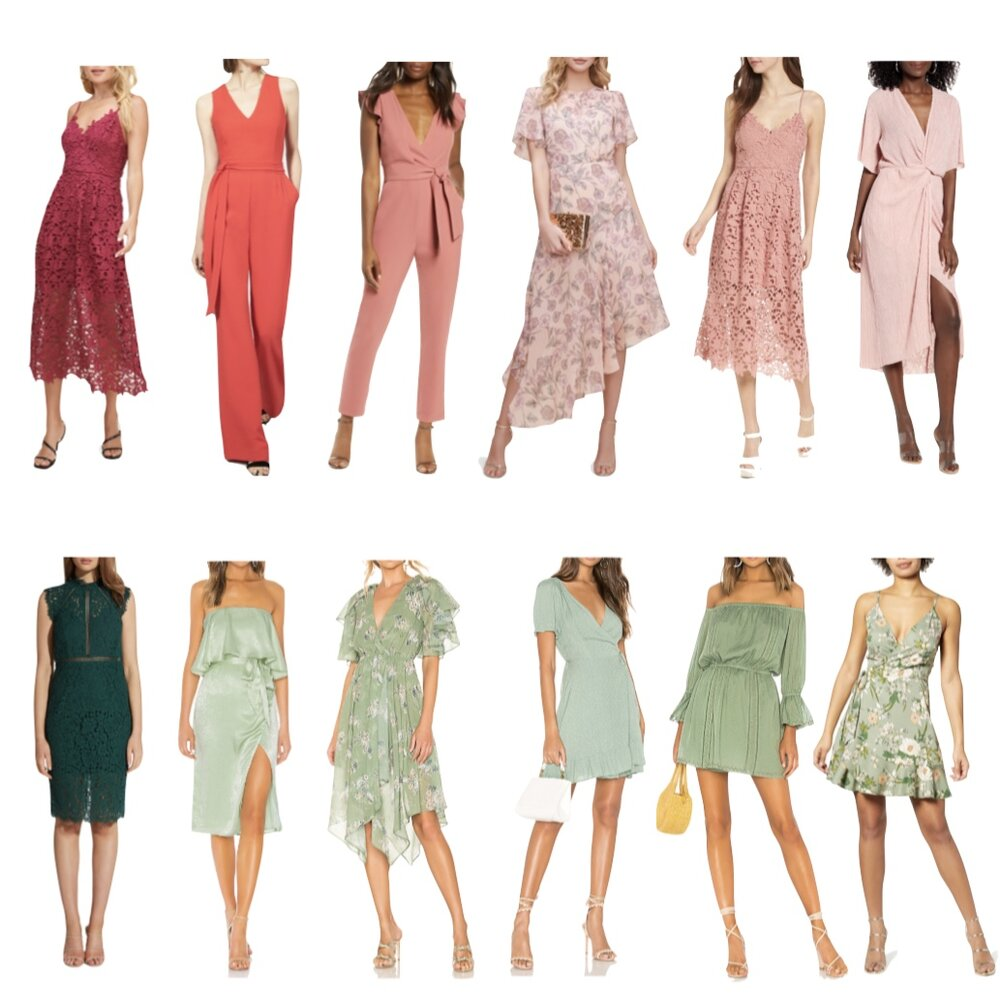 wedding guest dresses and jumpsuits, spring color trends