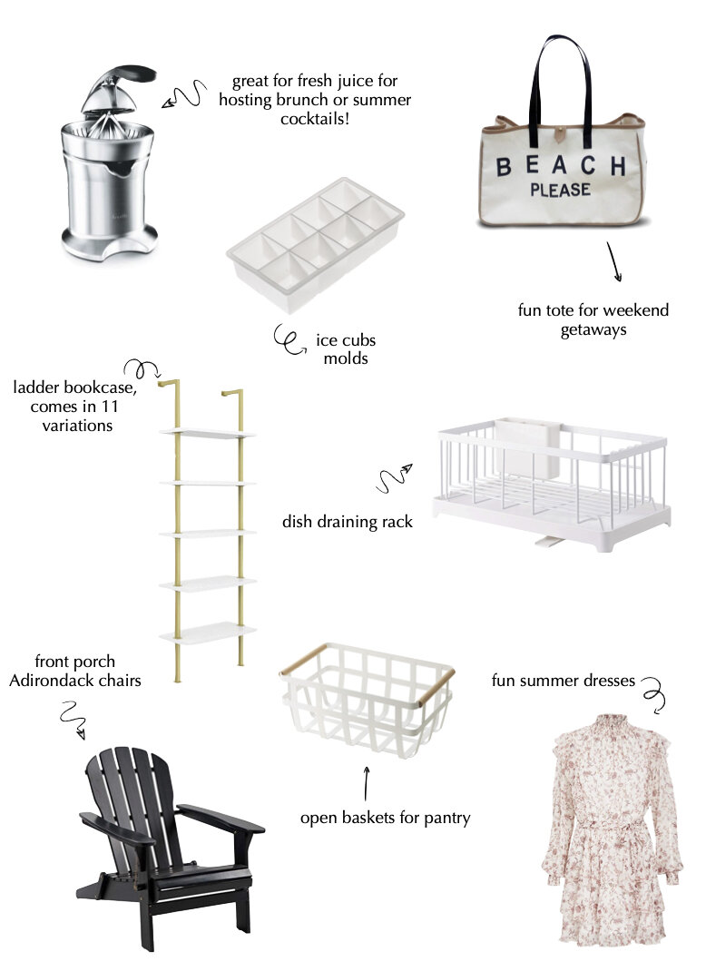 JUICE PRESS  |  ICE CUBE MOLD  |  BEACH TOTE  |  BOOKSHELF  |  DRAINING RACK  |  ADIRONDACK CHAIRS  |  OPEN BASKETS  |  DRESS